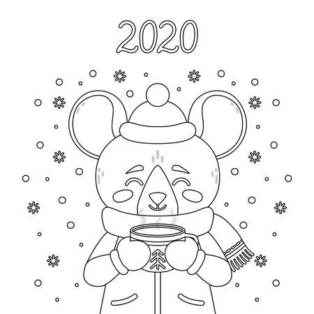 The rat with a cup of tea in winter wear. Mouse with a cocoa standing in snow. The symbol of the Chinese New Year 2020. Greeting card with a mouse for the New Year and Christmas. Çizim
