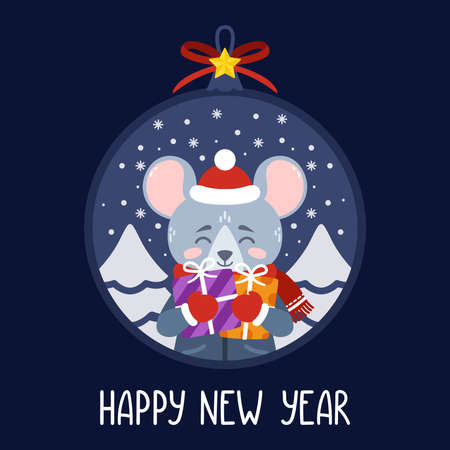 Christmas ball with the image of rat holding gifts. The symbol of the Chinese New Year 2020. Greeting card with a mouse for the New Year and Christmas. Vector illustration. Scandinavian style.