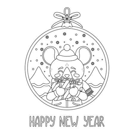Christmas ball with the image of rat holding gifts. Greeting card with a mouse for the New Year and Christmas. Vector illustration. Scandinavian style. Page for coloring book. Outline drawing.