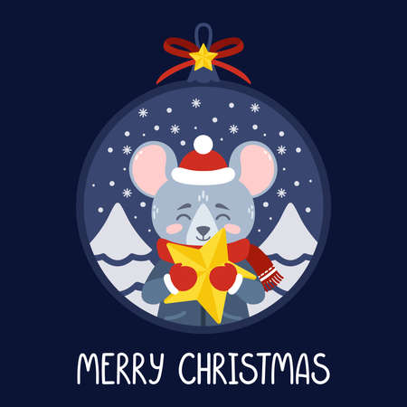 Christmas ball with the image of rat holding a yellow star. The symbol of the Chinese New Year 2020. Greeting card with a mouse for the New Year and Christmas. Vector illustration. Scandinavian style.