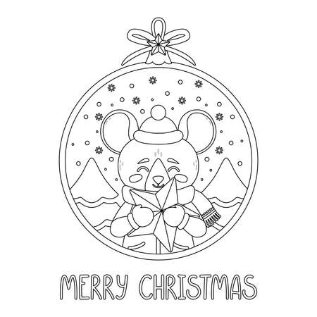 Christmas ball with the image of rat holding a star. The symbol of the Chinese New Year 2020. Greeting card with a mouse for the New Year and Christmas. Vector illustration. For coloring book.