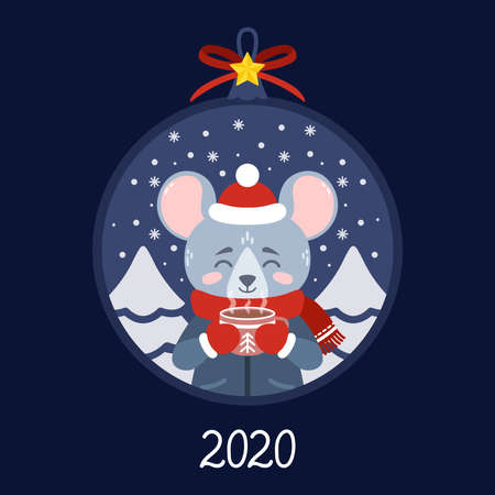 Christmas ball with the image of rat with a cup of tea. Mouse in winter wear with a cocoa standing in snow. Greeting card for the New Year and Christmas. Vector illustration. Scandinavian style. Çizim