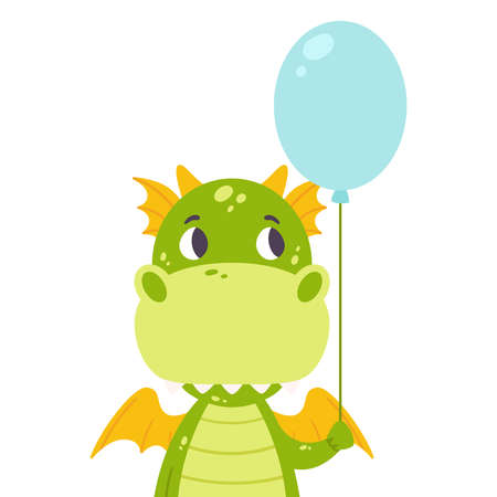 Cute dragon with a baloon. Festive toothy smiling green funny dinosaur with wings. Scandinavian style. Kids wall art. Nursery print. Vector illustration for printing postcard. Dino flat clipart. Illusztráció
