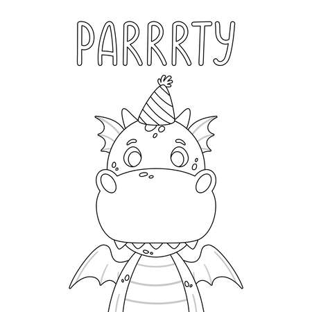 Poster with cute dragon in festive cap and hand drawn lettering quote - party. Nursery print for kid posters and invitation card. Vector illustration on white background. For coloring page.