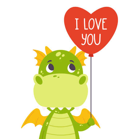 Cute green dragon with balloon in shape of heart and hand drawn lettering quote - I love you. Valentines day greeting card. Vector illustration isolated on white background for print, card and poster. Çizim
