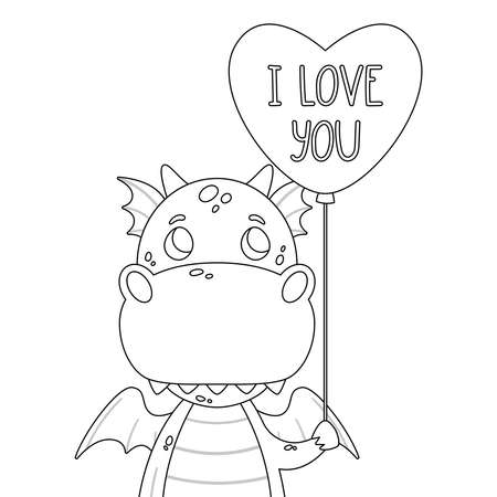 Cute dragon with balloon in shape of heart and hand drawn lettering quote - I love you. Valentines day greeting card. Vector outline illustration isolated on white background for coloring page. Çizim