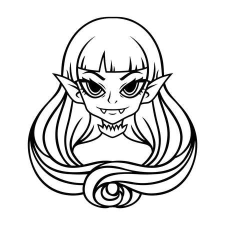 Vampirmädchenporträt. Halloween-Illustration für Poster und Aufkleber. Vektorillustration lokalisiert auf weißem Hintergrund. Umriss, Schwarz-Weiß-Zeichnung.