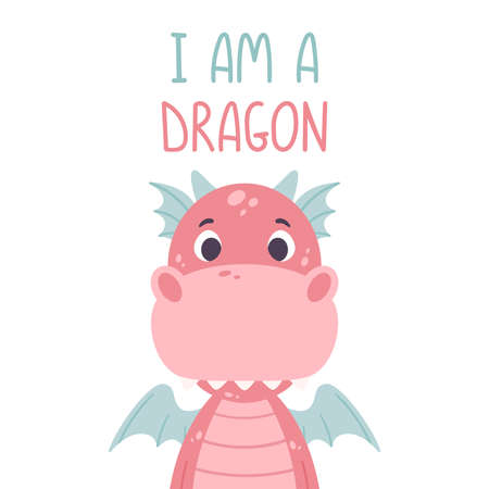 Poster with cute pink dragon and hand drawn lettering quote - i am a dragon. Nursery print for kid posters. Vector illustration on white background. Çizim
