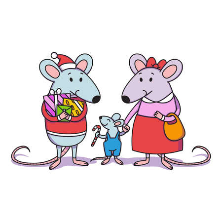 Christmas rat family. Dad with gifts, mom holds a child by the hand, a little boy with candy cane. Happy Chinese New year mice. Vector illustration for print, poster, calendar, card, souvenirs.