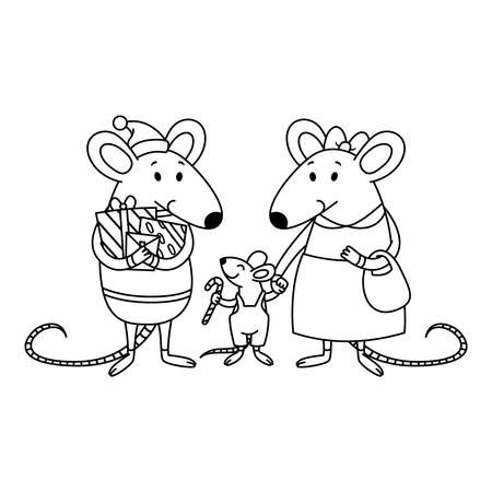 Christmas rat family. Dad with gifts, mom holds a child by the hand, a little boy with candy cane. Happy Chinese New year mice. Vector outline illustration for coloring page.