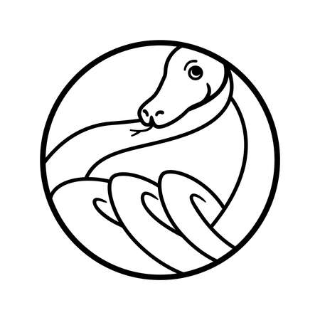 Snake outline logo. Round geometric shape. Twisted reptile rings graphic illustration for tattoo, sticker, logotype. Cartoon, simple, minimalist style. Black and white drawing.