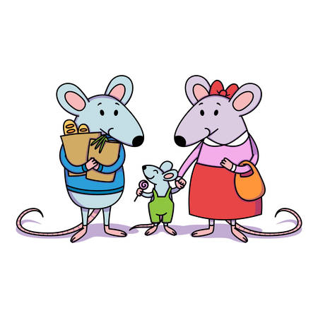 Rat family. Dad holds packages with purchases from the store, mom holds a child by the hand, a little boy with candy. Cartoon animal character vector illustration isolated white background. Çizim