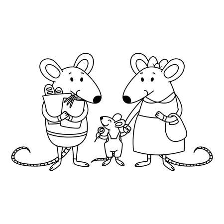 Rat family. Dad holds packages with purchases from the store, mom holds a child by the hand, a little boy with candy. Cartoon animal character vector illustration. Outline for coloring book.
