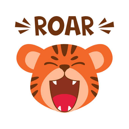 Flat cute tiger open mouth roar. Trendy Scandinavian style. Cartoon animal character vector illustration isolated on background. Print for kids apparel, nursery decoration, poster, funny avatars. Çizim