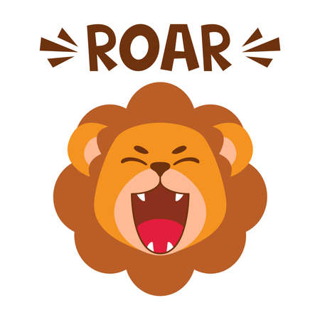 Flat cute lion open mouth roar. Trendy Scandinavian style. Cartoon animal character vector illustration isolated on background. Print for kids apparel, nursery decoration, poster, funny avatars.
