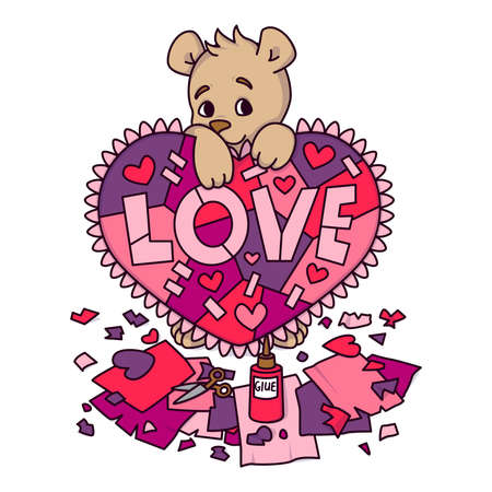 Valentines day greeting card with teddy bear with scrapbook heart. 14 february greeting card with hearts. Vector illustration isolated on white background. Print for invitations, postcard.