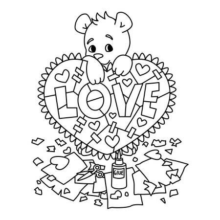 Valentines day greeting card with teddy bear with scrapbook heart. 14 february greeting card with hearts. Vector illustration isolated on white background. Print for coloring page.