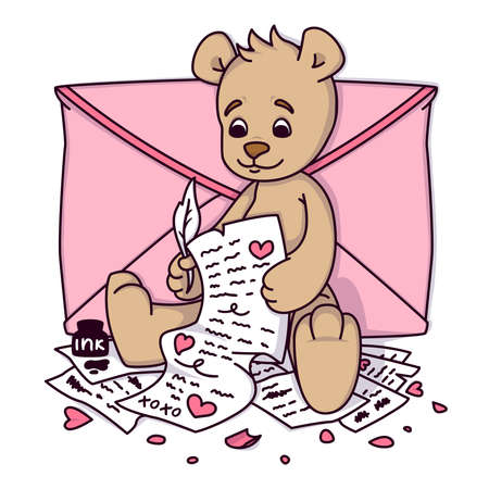 Teddy bear writes a love letter. Valentines day greeting card with hearts and envelope. Print for kids invitations, greetings postcard. Vector illustration isolated on white background.