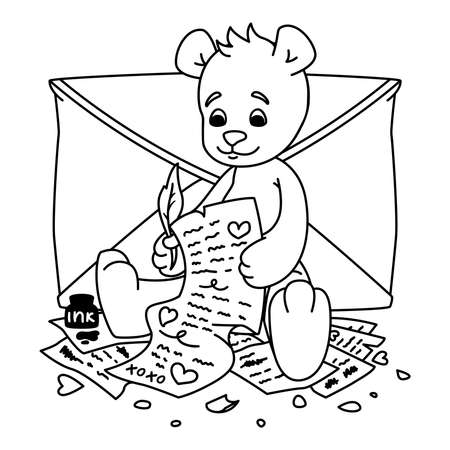 Teddy bear writes a love letter. Valentines day greeting card with hearts and envelope. Print for kids coloring book. Vector outline illustration isolated on white background. Çizim