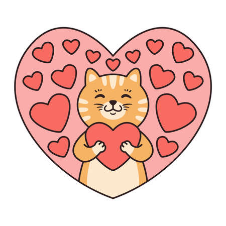 Cat hugs a heart. Greeting cards for Valentines Day, Birthday, Mothers Day. Cartoon animal character vector illustration isolated on white background. Doodle cartoon style.