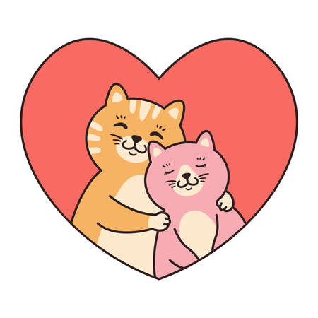 Cat couple in love hug. Greeting cards for Valentines Day, Birthday, Mothers Day. Cartoon animal character vector illustration isolated on white background. Doodle cartoon style.