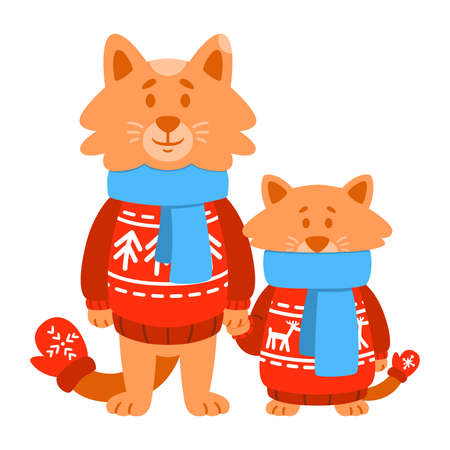 Cats son and father wearing red knitted sweater, scarf, mittens. Cute cartoon animal character. Vector illustration isolated on white background.