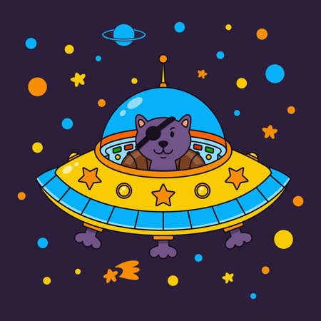 Alien cat pirate in a spaceship in a star galaxy. Cute cosmonaut cat in outer space. Vector illustration on the space theme in childish style. 版權商用圖片 - 137333396
