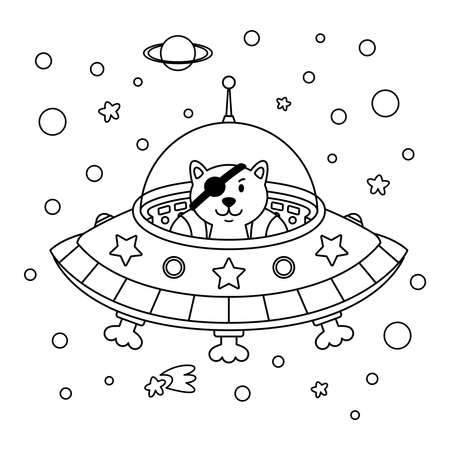 Alien cat pirate in a spaceship in a star galaxy. Cute cosmonaut cat in outer space. Vector outline illustration on the space theme in childish style for coloring book and page. Stock Illustratie