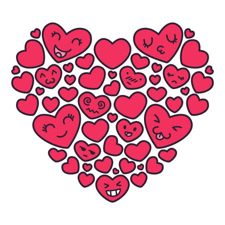 Hand drawn kawaii emoji red hearts vector illustrations. Greeting postcard element for mothers day, wedding, valentines day. Doodle illustration isolated on white background.