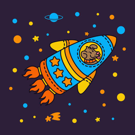Dog in a rocket spaceship. Star galaxy. Cute cosmonaut dog in outer space. Vector illustration on the space theme in childish style.