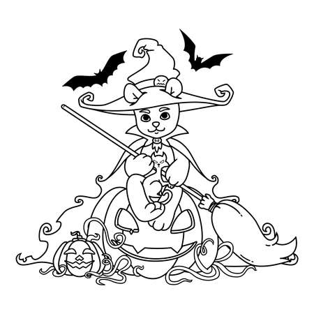 Teddy bear in a witch hat and mantle with a broom in his hands sits on a Halloween pumpkin with black cat and bats. Vector illustration isolated on white background. Print for coloring book and page.