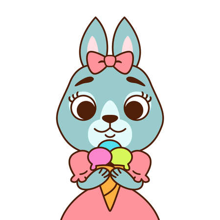 Rabbit with a bow on her head in a pink dress with ice cream. Print for greeting card, nursery decoration. Cartoon animal character vector illustration solated on white background.