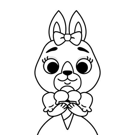Rabbit with a bow on her head in a dress with ice cream. Outline print for coloring book and page. Cartoon animal character vector illustration solated on white background.