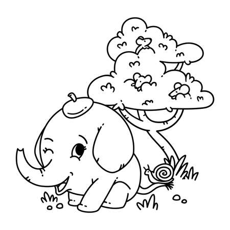 Elephant in a hat with snail on tail and mouse on a tree. Cartoon animal character vector illustration isolated on white background. For coloring page and book. Stock Illustratie