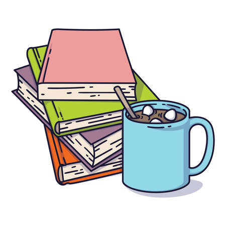 Book pile and a cup of cocoa with marshmallows. I love reading concept for libraries, book stores, festivals, fairs and schools. Vector illustration isolated on white.