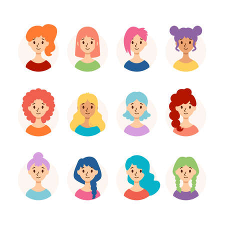 Set of beautiful women with different hairstyles and hair color. Collection of cute girls avatars. Vector illustration isolated on white background. Flat style. Stock Illustratie