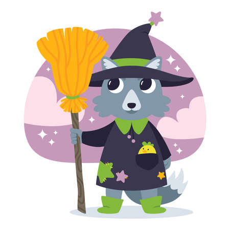 Cute wolf sorcerer with a chicken in his pocket, in the witch's hat and with the witch's broom. Adorable witch. Happy Halloween illustration. October 31th holiday illustration.
