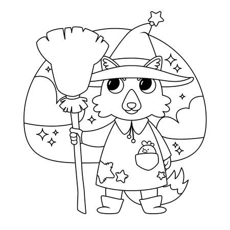 Cute wolf sorcerer with a chicken in his pocket, in the witch's hat and with the witch's broom. Happy Halloween illustration. Black and white illustration for coloring book.
