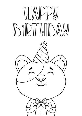 Birthday greeting card with a cat and hand drawn lettering. A cat in a festive cap with present. Postcard with calligraphy. Black and white illustration for coloring book. Stockfoto