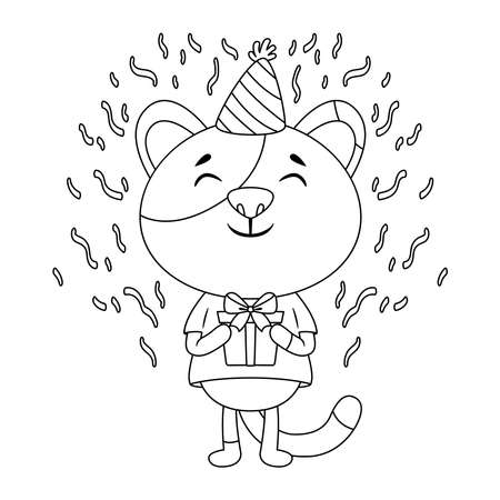 Birthday greeting card with a cat. Cute kitty cat illustration. Congratulations on birthday. A cat in a festive cap with present. Black and white illustration for children's coloring pages. Stockfoto