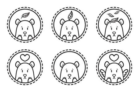 Bear with leaf  set of illustration. Bear with heart. Bear with heart and wings. Outline set. Set of bear emblems, icons, labels. Stockfoto