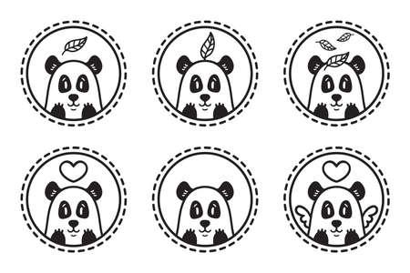 Panda bear with leaf  set of illustration. Bamboo bear with heart. Chinese bear with heart and wings. Outline set. Set of panda emblems, icons, labels.