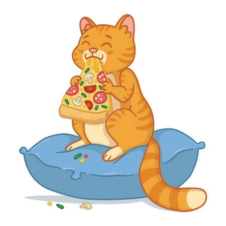 Cat with a pizza slice in the mouth. Kitty sit on the pillow and eating pizza. Amusing domestic pet illustration. Isolated on white background.