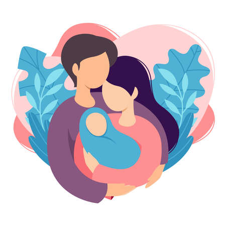 Mother and father holding their newborn baby. Couple of husband and wife become parents. Man embracing woman with child. Maternity, fatherhood, parenting. Cartoon flat vector illustration. Vecteurs