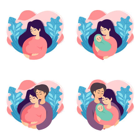 Pregnancy and parenthood concept vector illustrations. Set of scenes with pregnant woman, mother holding newborn, future parents are expecting baby, mother and father holding their newborn baby.