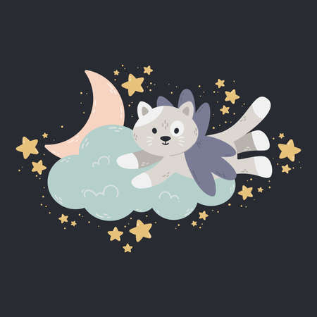 Cute poster with moon, stars, cloud on a dark background. Vector print for baby room, greeting card, kids and baby t-shirts and clothes, women wear. Sweet dreams hand drawn nursery illustration. Stock Illustratie