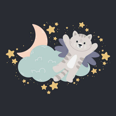 Cat with wings flies past the cloud, the moon, and stars. Dark background. Vector print for baby room, greeting card, kids and baby t-shirts and clothes, wome swear. Good night nursery illustration.