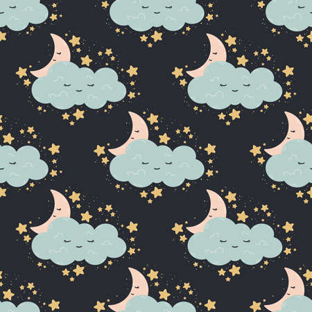 Seamless pattern with moon, stars, cloud on a dark background. Vector print for baby room, greeting card, kids and baby t-shirts and clothes, women wear. Good night, sweet dreams nursery illustration. Stock Illustratie