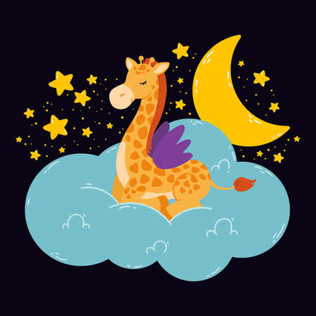 Cute poster with giraffe, moon, stars, cloud on a dark background. Vector print for baby room, greeting card, kids and baby t-shirts and clothes, women wear. Hand drawn nursery illustration. Stock Illustratie
