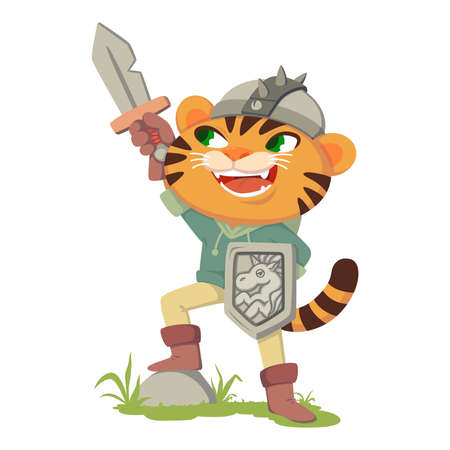Puss in boots fairy tale character. Tiger with a sword, shield and helmet. Cat in a costume of a medieval warrior, knight. Vector illustration isolated on white background.